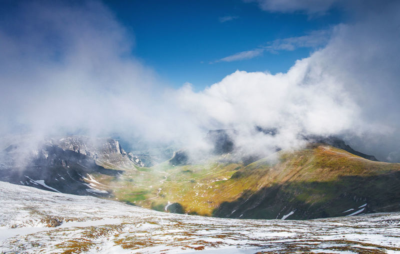 Landscapes from Bucegi Mountains, Romania. Carpathians Nature Beauty In Nature Blue Sky Bucegi Cloud - Sky Day Landscape Mountain Mountain Range Nature No People Outdoors Scenics Sky Snow Sunlight Tranquil Scene Tranquility Travel Destinations Valley Water Winter