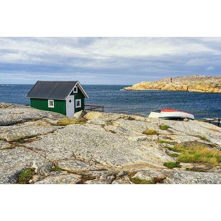 Hut on the rocks. Smögen Sweden Coast Scandinavian Sea Ocean Rocks Hut Boat Bohuslän