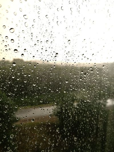 Drop Window Rain Wet RainDrop Rainy Season Backgrounds Weather Water No People Indoors  Full Frame Condensation Nature Day Sky Close-up