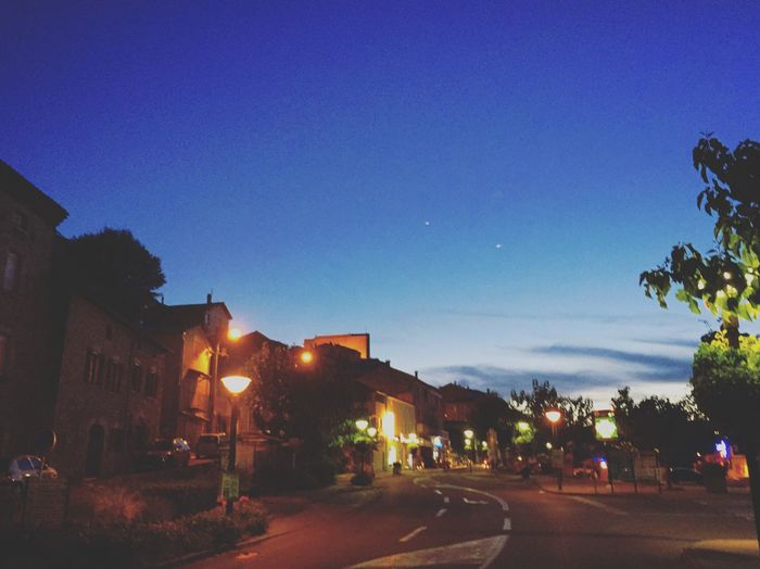 French village sunset Blue Clear Sky Building Exterior Architecture Illuminated Built Structure Tree Outdoors Road Sky No People City Nature Night