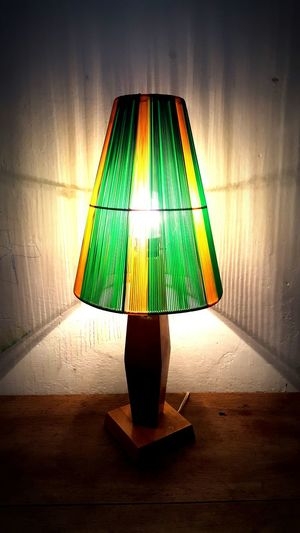 Illuminated Green Color No People Table Lighting Equipment Indoors  Lamp Shade  Spot Lit Shadow Yellow Floor Lamp Home Interior Wall Photography Szabadkikötő Lamp Lantern Light