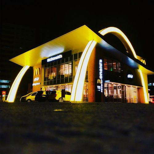 McDonald's NXTGEN Night Illuminated Architecture Built Structure Building Exterior City