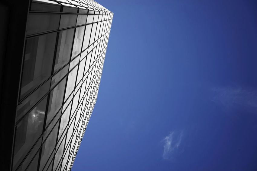 Sky Building Exterior Low Angle View Architecture Built Structure Building No People Office Building Exterior Office City Modern Day Copy Space Reflection Blue Tall - High Cloud - Sky Glass - Material Skyscraper
