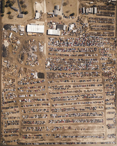 Hidden Treasures Full Frame Backgrounds Architecture Large Group Of Objects No People Abundance Text Built Structure Day High Angle View Outdoors Pattern Close-up Order Arrangement Metal Building Safety Junk Junkyard Junk Yard Art