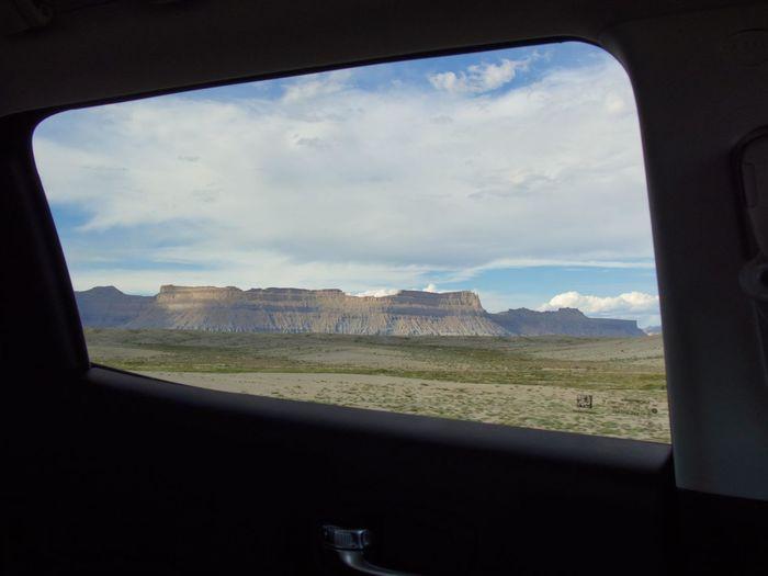 Landscape seen through car window