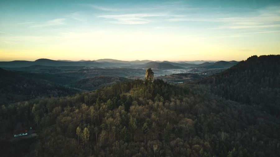 Amselfelsen, Pfälzerwald. Pfälzerwald Aerial View EyeEm Best Shots Sunrise Sky Scenics - Nature Beauty In Nature Mountain Plant Tranquil Scene Tranquility Environment Cloud - Sky Landscape Mountain Range No People Outdoors Nature Non-urban Scene Stay Out