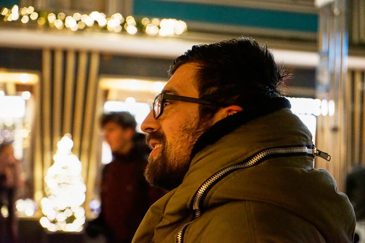 NaturalMoments Portrait Photography EyeEmPortraits SONY A7ii Sonyalpha Bokeh Real People Focus On Foreground Beard Young Adult Side View One Person Warm Clothing Profile View Men Eyeglasses  Young Men Facial Hair Lifestyles Adult Headshot Adult Facial Hair Glasses Clothing Eyeglasses  Scarf