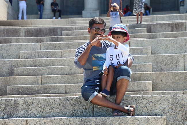 Togetherness Steps Sunglasses Steps And Staircases Staircase Bonding Adult Happiness Summer Friendship Child Childhood City Love Father And Son Father And Son Time Fatherhood Moments Live For The Story