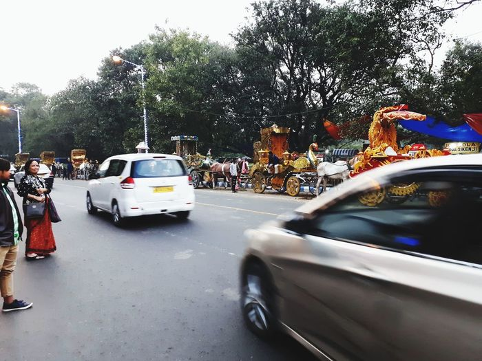 Vehicles on road in city