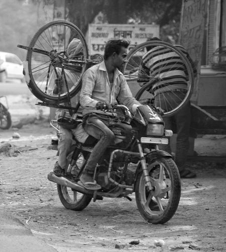 Bicycle Mode Of Transport Transportation Two People Outdoors Land Vehicle Street Photography Natural Light EyeEm Best Shots Eye4photography  Adapted To The City Street Photography India Incredible India Black And White Photography People Photography Stationary Men Motorcycle Tire Day Pedal People Uniqueness Break The Mold