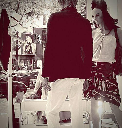 Shop Display Woman Man Window Display Photography Streetphotography Shop Mensfashion Monochromatic Manequins Creative Light And Shadow