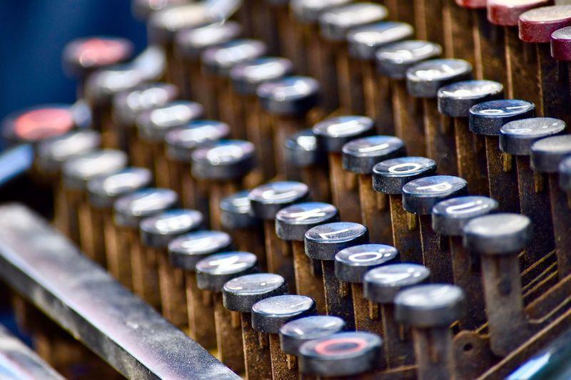 High angle view of typewriter