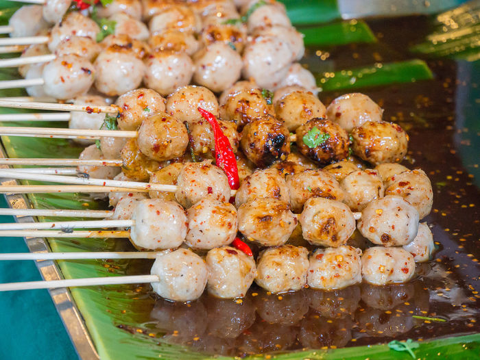 Pork ball topped with delicious banana leaves, thai food