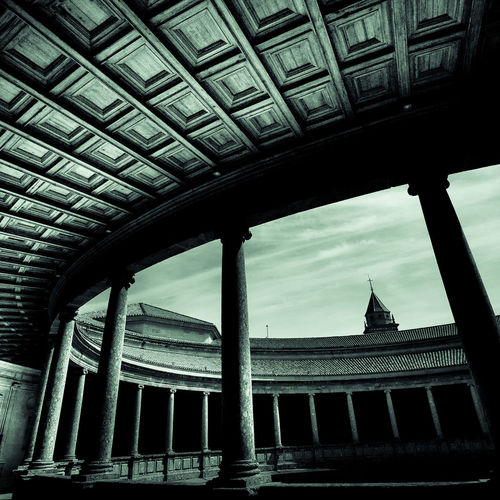 Amazing Amphitheatre Ancient Architectural Column Architecture Beautiful Built Structure Ceiling Creative Light And Shadow Creepy Curved Stairs Dark Granada Green Tint Monochrome No People Old Palace Alhambra Paula Puncher SPAIN Staircase Stone Structural Stunning Architecture Wide Angle Visual Creativity