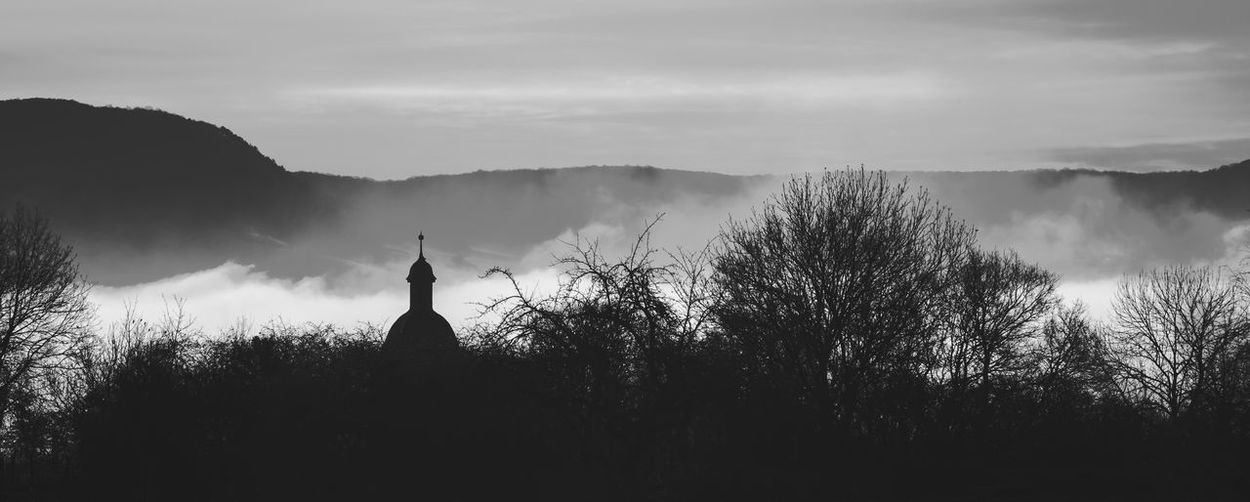 Fog over the little town... Sky Silhouette Religion Church Fog Foggy Outdoors Landscape No People Tree Mountain Black And White Nebula Village View Nature
