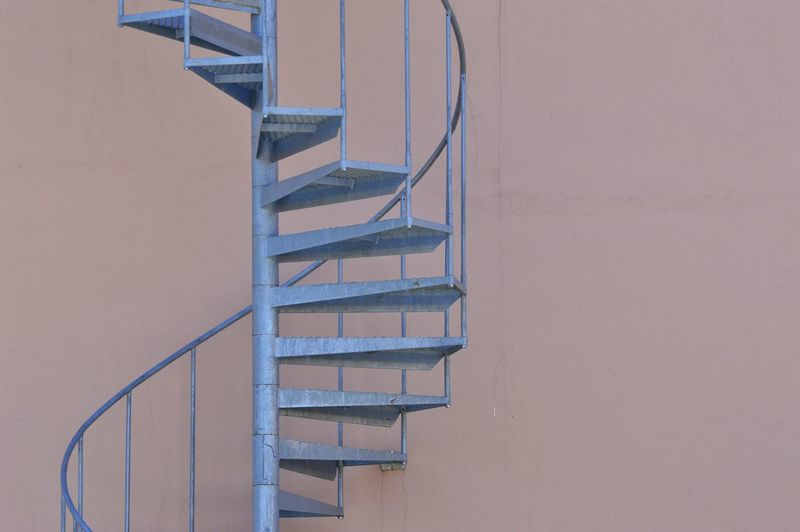 High angle view of spiral staircase against building