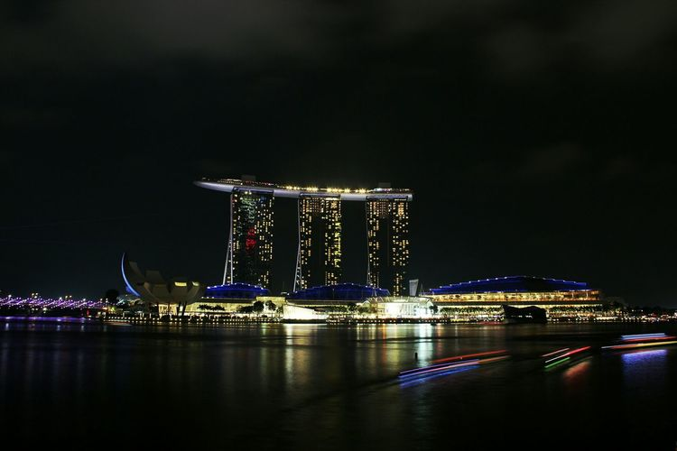 Illuminated Marina Bay Sands At Night