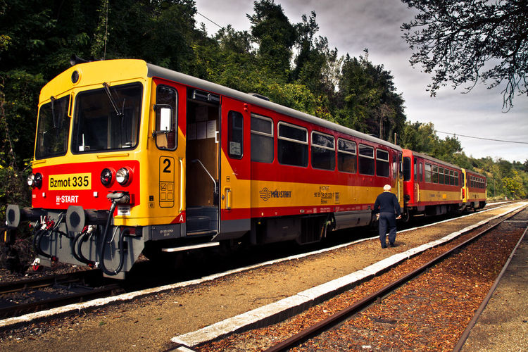 Day Historic Hungary Journey Land Vehicle Locomotive Mode Of Transport Nature Outdoors Public Transportation Rail Transportation Railroad Station Platform Railroad Track Real People Sky Steam Train Train - Vehicle Transportation Travel Tree