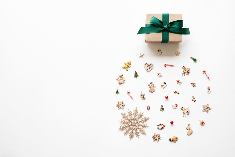 High angle view of christmas decoration in box