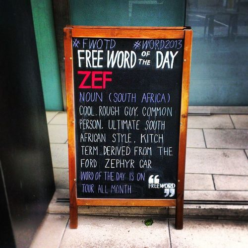 """Zef"" FWOTD Word2013 London"