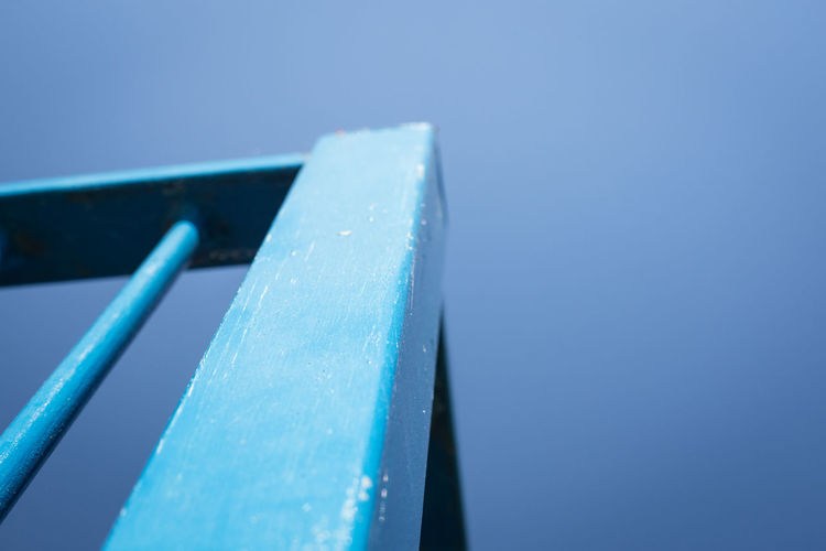 Lines Abstract Angle Architecture Blue Blue Background Clear Sky Close-up Colored Background Copy Space Day Focus On Foreground Metal Minimalism No People Outdoors Selective Focus Single Object Sky Still Life Sunlight