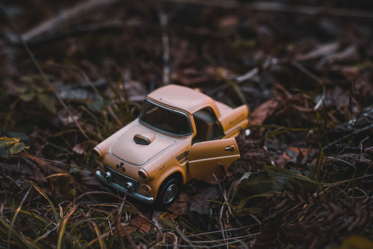 EyeEm Japan ASIA Shootermag AMPt_community Thedarksquare Toy Toy Car No People Field Close-up Day Car Nature Land High Angle View Focus On Foreground Single Object Still Life Selective Focus Human Representation Outdoors Brown Mode Of Transportation Plant Small