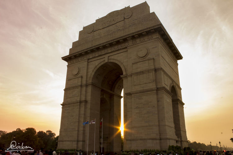 @sunset India Gate Salute Architecture Building Exterior Built Structure Cloud - Sky Day High Aperture History Jawan Low Angle View Memory No People Outdoors Sculpture Sky Sunset