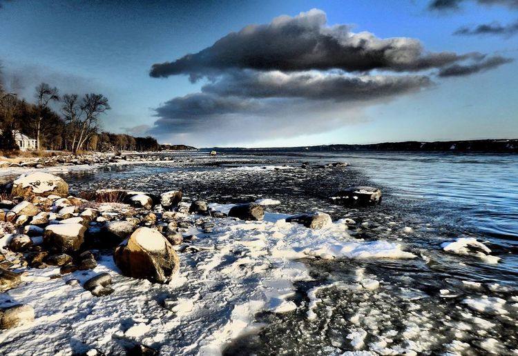 Water Cloud - Sky Sky Sea Scenics - Nature Rock Beauty In Nature Solid Beach Tranquility Land Tranquil Scene Cold Temperature No People Snow Nature Rock - Object Winter Outdoors Surface Level