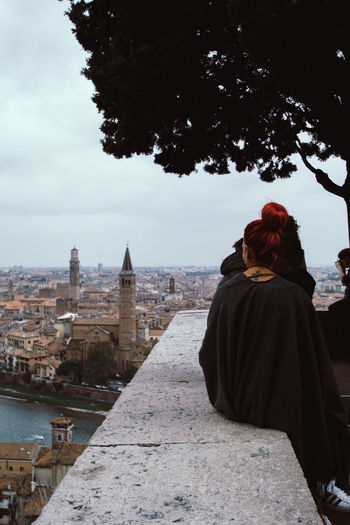 Italy Verona Love Redhead Quiet Moments Peace Silence City Water Women Winter Rear View Cold Temperature Sky Architecture Place Of Worship Cathedral Church