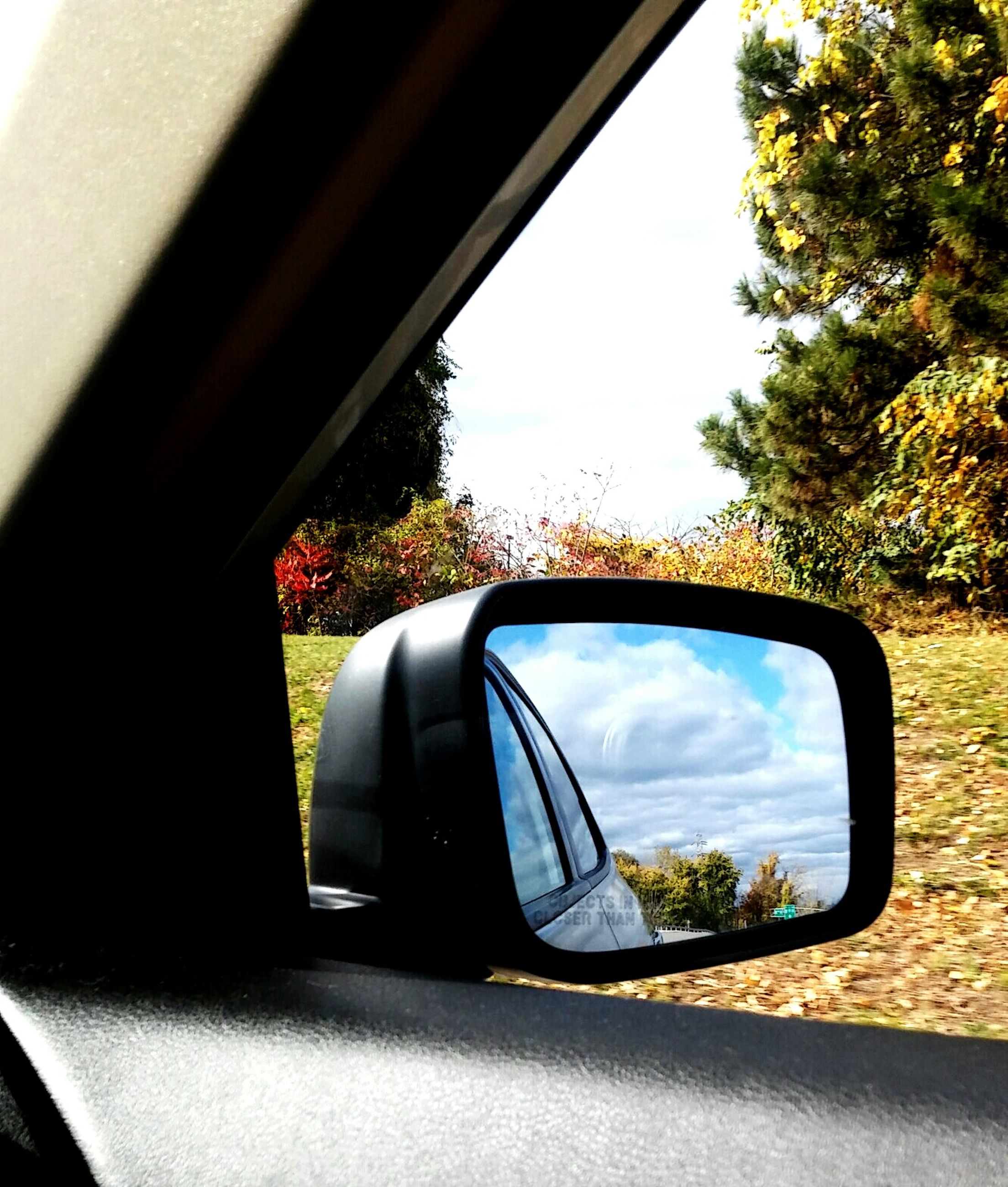car, transportation, side-view mirror, mode of transport, land vehicle, car interior, vehicle interior, vehicle mirror, reflection, rear-view mirror, tree, day, no people, the way forward, road, close-up, outdoors, sky, nature