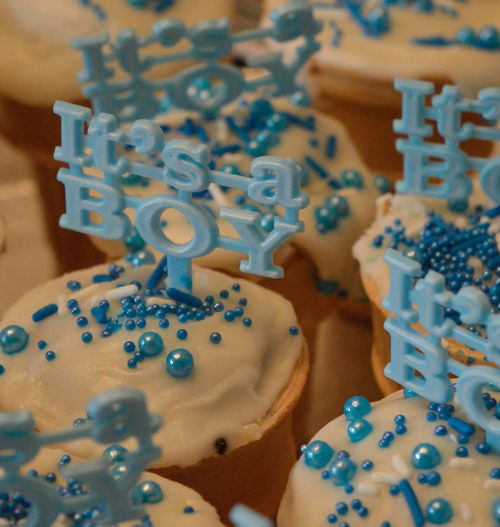 Abundance Art Baby Baby Shower Backgrounds Blue Boy Cake Close-up Creativity Cupcakes Detail Full Frame High Angle View Indoors  Indulgence It's A Boy! Large Group Of Objects Party Shower Still Life Table Temptation
