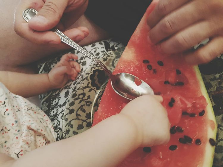 EyeEm Selects Human Hand Baby Hands  Man Hands Watermelon Watermelon Slice Watermelon Seeds Spoon Eating Healthy Eating Fruits Home Family Father And Daughter Four Hands EyeEmNewHere The Week On EyeEm Mix Yourself A Good Time Food Stories