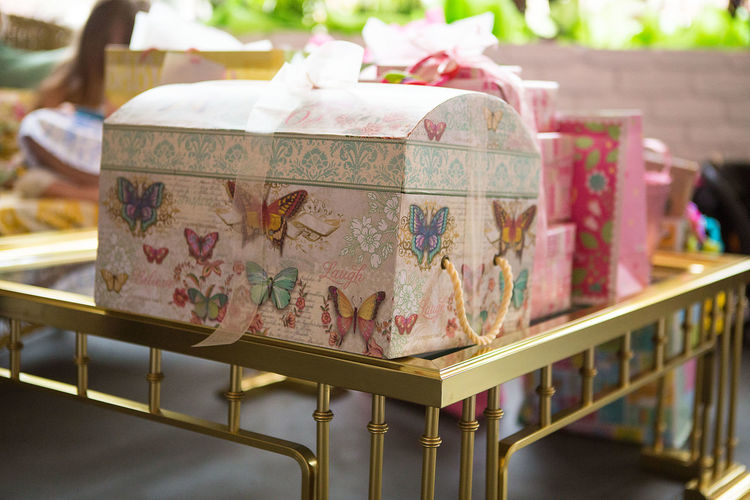 Close-up of colorful gift boxes on table