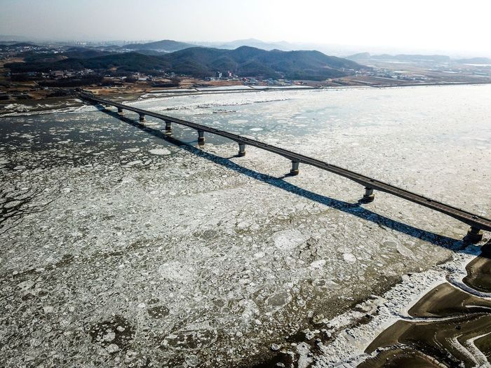 Drift ice of Choji Bridge in Kanghwa island, Korea. Choji Bridge Sea Ice WinterSea Drone Photography Drone Shot Choji Bridge Korea Winter Ganghwa Island Water Day Land Tranquility Sky High Angle View Tranquil Scene No People Scenics - Nature Outdoors Sea Beauty In Nature
