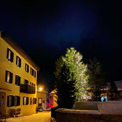 Illuminated christmas tree by building against sky at night