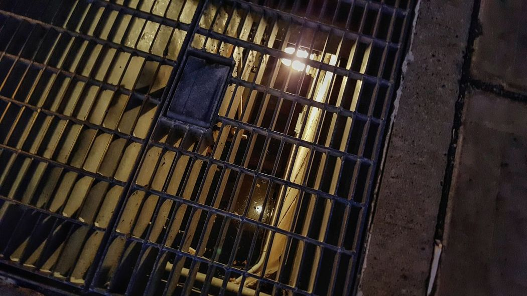 Pattern High Angle View Full Frame No People Syracuse Ny Grate Metal Steel Secret Places Tunnel Sidewalk Underground Water Grid Creepy Glow