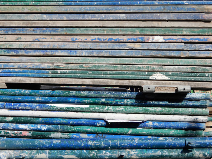 yes, obsessed with this blue scaffolding Old Blue Day Weathered Repetition Scaffolding Pattern Close-up Textured  Stack No People Large Group Of Objects Wall - Building Feature Construction Site Poetry