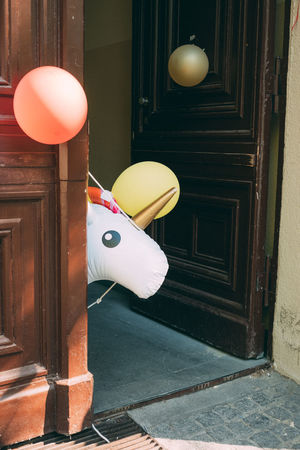 Berlin Colors Documentary Photography Fabelwesen Hello Unicorn Animal Balloons Colorful Door Einhorn Fantasy Phantasy Streetart Streetphotography Stuff