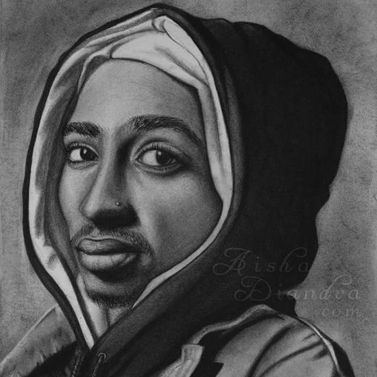 This is a cropped version of my valentines gift to my husband last year. 💕 I was so nervous about it because I hadn't drawn realistic portraits in over 3yrs, and hadn't used charcoal since 2008/9, so I was very rusty. But I guess it didn't turn out bad. ✌ Drawings Fine Art Traditional Art Art Charcoal Tupac Hip Hop 2pac Portrait Portrait Drawing