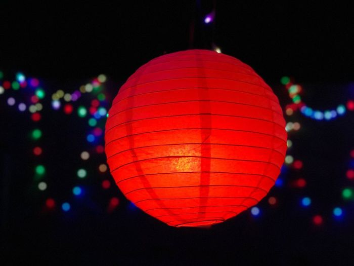 Day 320. Illuminated Night Lighting Equipment Celebration Chinese Lantern Red Focus On Foreground Chinese Lantern Festival Hanging Cultures Lantern Traditional Festival No People Christmas Decoration Outdoors Close-up ShotOnIphone Iphoneonly