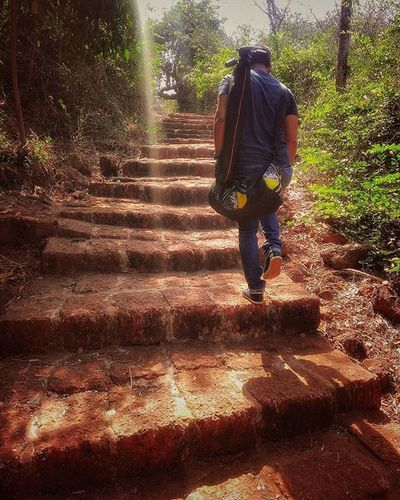My old Enemy Stairs with Cousin , Weekend Roadtrip Nativeland Vijaydurg Redstone Staircase Morning Nature Getaway  Maharastra India