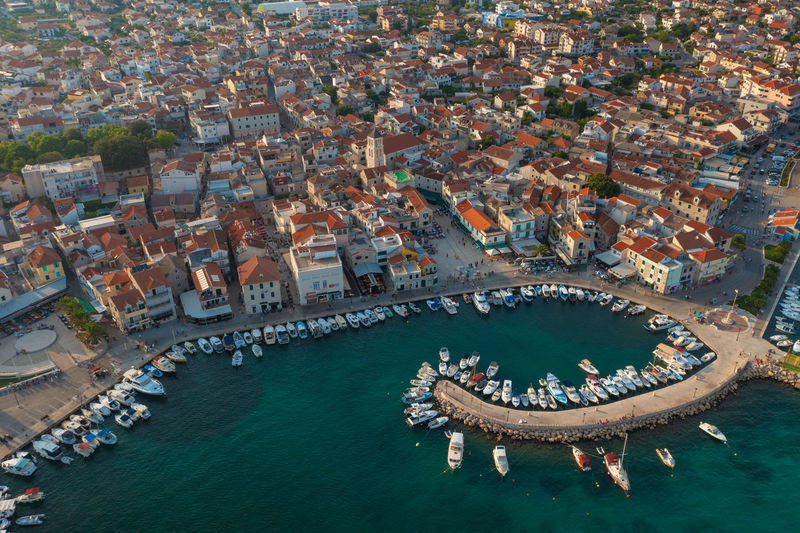 Aerial view of vodice town in croatia