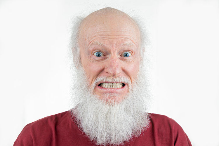 adult senior with big white beard Human Face Mustache Mouth Open White Hair Body Part Excitement Positive Emotion Senior Men Indoors  Studio Shot Hair Loss Senior Adult Men Front View Looking At Camera White Background Emotion Headshot Males  Adult Beard One Person Facial Hair Portrait