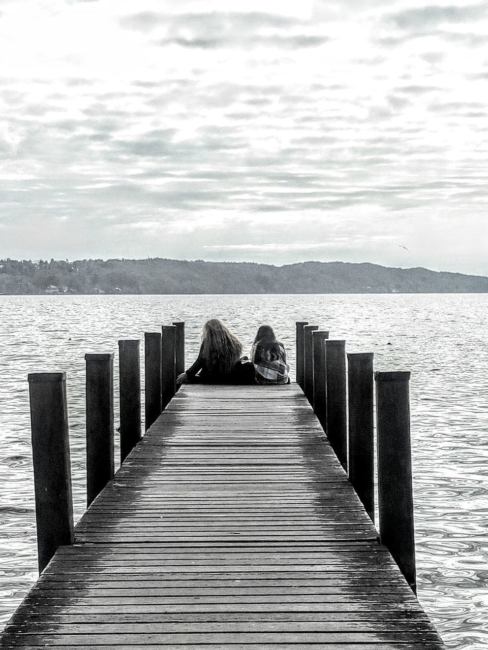 water, pier, sky, wood - material, beauty in nature, tranquil scene, scenics - nature, nature, real people, tranquility, day, sea, rear view, jetty, idyllic, direction, the way forward, cloud - sky, outdoors, wood, wood paneling