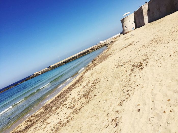 Beach Sand Sea Architecture Day Blue No People Sky Water Lecce Gallipoli Italy Italien Italia Bella Italia Horizon Over Water Beauty In Nature