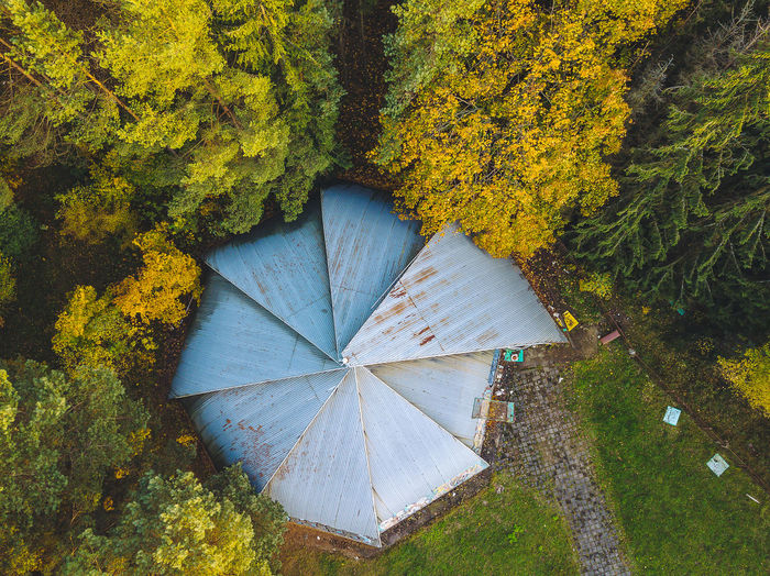 Directly above shot of built structure by trees during autumn