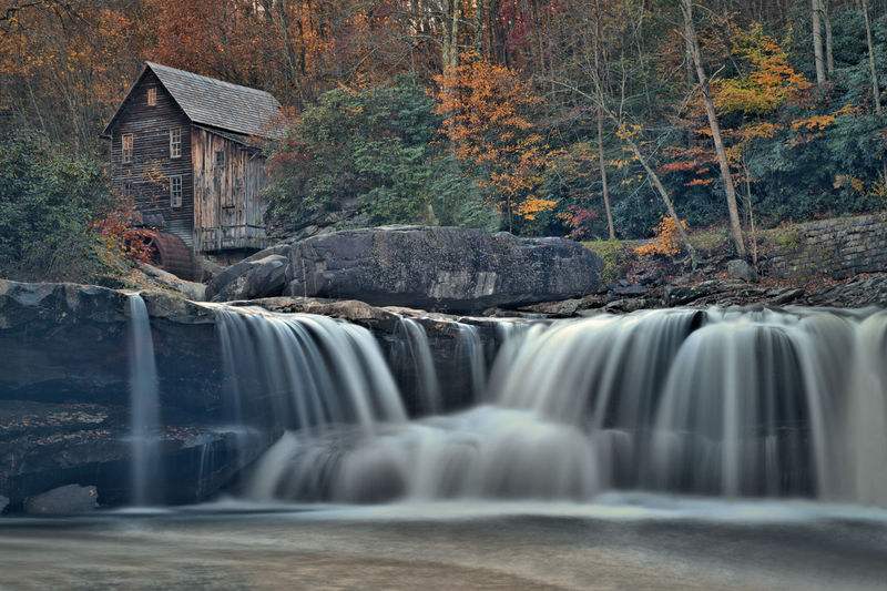 Tree Long Exposure Waterfall Scenics - Nature Water Motion Flowing Water Beauty In Nature Nature Plant Blurred Motion Forest Land No People Environment Flowing Day Autumn Architecture Outdoors Power In Nature Rainforest Grist Mill Glade Creek Grist Mil Fall Beauty