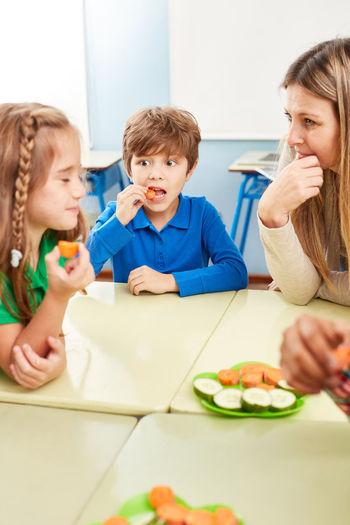 Portrait of a boy eating food