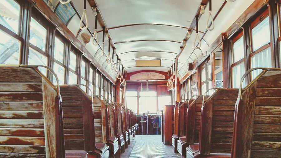 Trolley Simple Elegance Antiquity The Good Old Days Wooden Seat Abandonment Interior Views Unedited The Purist My Commute Transportation The Street Photographer - 2016 EyeEm Awards Finding New Frontiers Adapted To The City The City Light Rethink Things