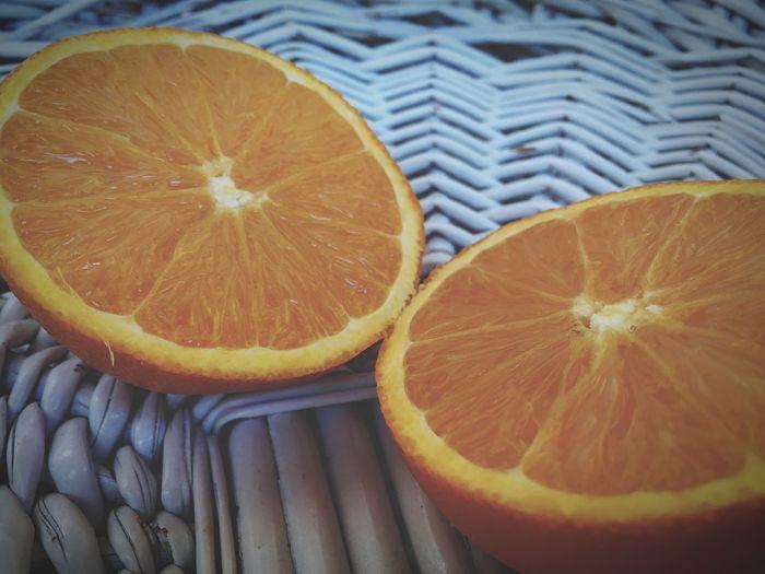 Directly above shot of orange fruit on table